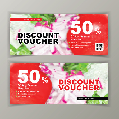 Discount voucher template for salads. Clean vector design, photo of chopped tomato, radishes, green onions. Flyer for caffee, restourant, grocery store. Summer menu