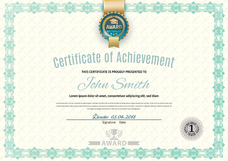 Official white certificate of a4 format with green border, gold emblem, Official simple blank..