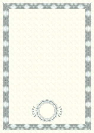 Certificado oficial verde claro de formato a4 con borde labrado en verde. Espacio en blanco vacío simple oficial. Ilustración de vector