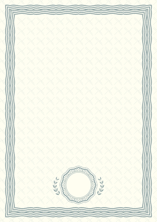 Official light green certificate of a4 format with green guilloche border. Official simple empty blank. Vektorové ilustrace