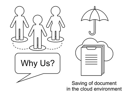 Thin line ogistics icons. Technology. Saving of documents in environment cloud Ilustrace