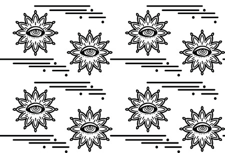 Seamless pattern with hypnosis eyes. Vector abstract background. Psyphodelic black white pattern.