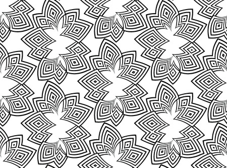 Black lines seamless pattern on white background. Vector abstract background. Psyphodelic black white pattern. Stockfoto - 114905351