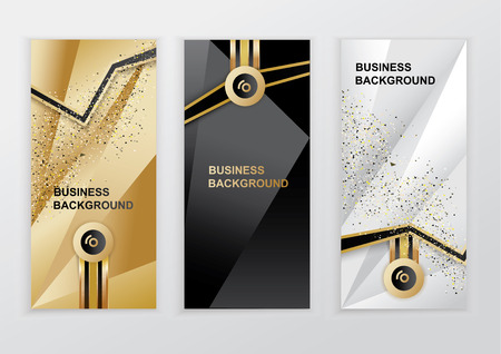 Vertical luxury gold black silver banners. Triangle abstract vector background