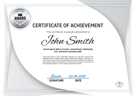 Official white certificatewith white grey design elements. Business clean modern design. White vector blank