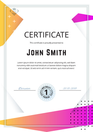 Official white certificate with pink yellow gradient design elements, mountain . Business clean modern design