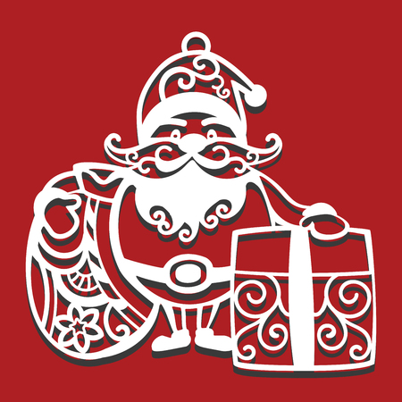 Weihnachtsmann hält Weihnachtstasche und Geschenk zum Laserschneiden. Neujahrskarte.