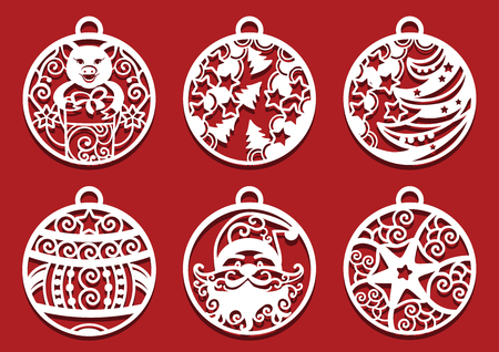 Santa, Pig holding gift inside Christmas balls. Symbol of 2019 for laser cutting.. Set of New Year decorations.
