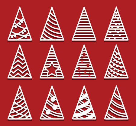 Christmas trees for laser cutting. New Year card. Simple Abstract shapes.