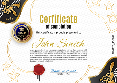 Official white certificate with ornamental floral gold corners s. Modern design. Gold emblem Stok Fotoğraf - 115543906