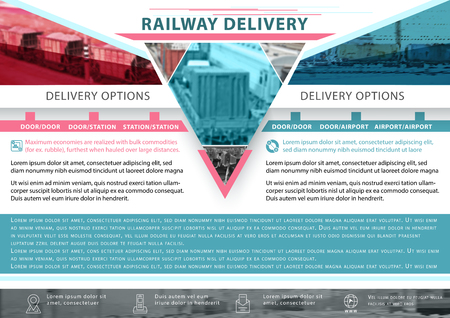 Railway delivery. Business template for logistics. Presentation abstract background. Illustration