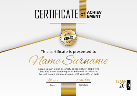 Official white certificate with gold line. Business clean modern design. Gold emblem Stok Fotoğraf - 123182842