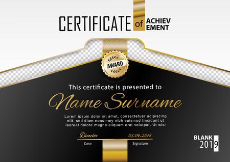 Official white black certificate with gold line, transparency design element. . Business clean modern design. Gold emblem Stok Fotoğraf - 123182851