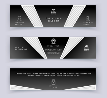 Business banner with transparency design elements. Horizontal template. Abstract background for website design Çizim