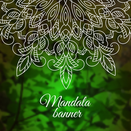Mandala on green leaves nature background. Vector boho mandala. Yoga template, psychedelic, psychology. Spring, summer forest Çizim