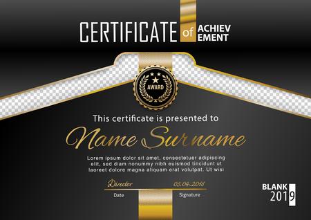 Official black certificate with gold line, transparency design element. . Business clean modern design. Black emblem