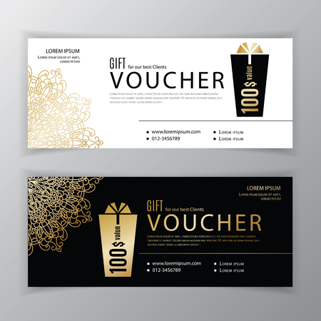Vector gift voucher template. Universal flyer for business. Clean vector design, black gold design elements. Clean design for department stores, business. Abstract vector background