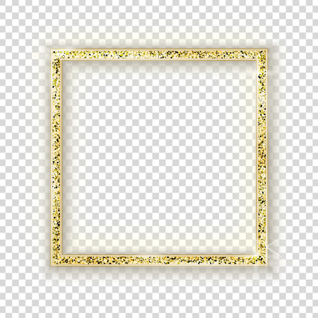 Gold square frame on transparent background. Glitter realistic border with shadow