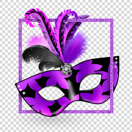 Carnival Mask with pink black lilac feathers and shadow in glitter square on transparent background. Mardi gras