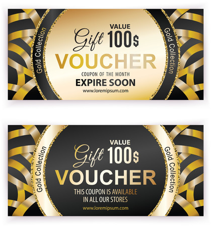 Vector gift voucher template with gold wide ribbons. Universal flyer for business. luxury gold black design for department stores, business. 100 dollars. Çizim