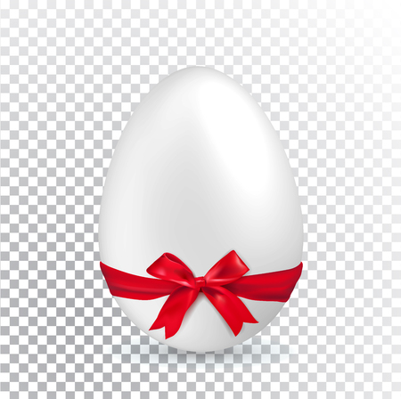 White Easter egg with red ribbon on transparent background. Minimalism.. Easter Sale banner