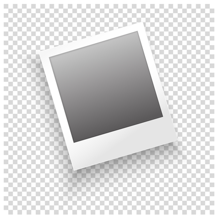 Instant photo frame with shadow on transparent background. Vector template for your trendy photo or image.