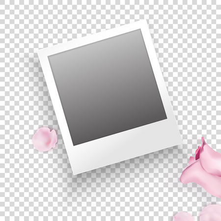 Instant photo frame with pink roses, petals on transparent background. Vector template for your trendy photo or imageVector template for your trendy photo or image.