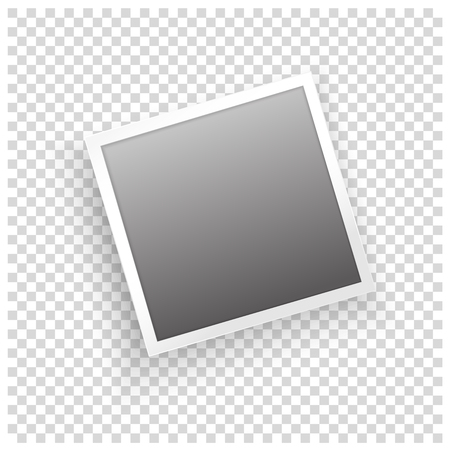 Instant photo frame with shadow on transparent background. Vector template for your trendy photo or image Illustration
