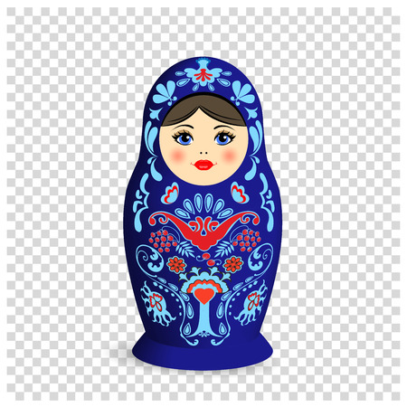 Russian nesting doll with ornamental pattern. on tranparent background.