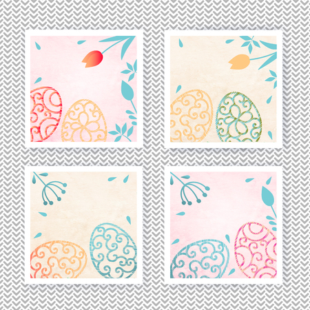 Set of Easter banners. Ornamental eggs with floral elements on watercolor background. Pastel colors