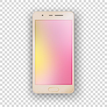 Mobile gold phone on transparent background with empty screen. Çizim