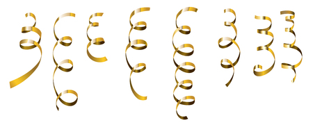 Golden serpentine set. Vector golden serpantine pieces isolated on white background