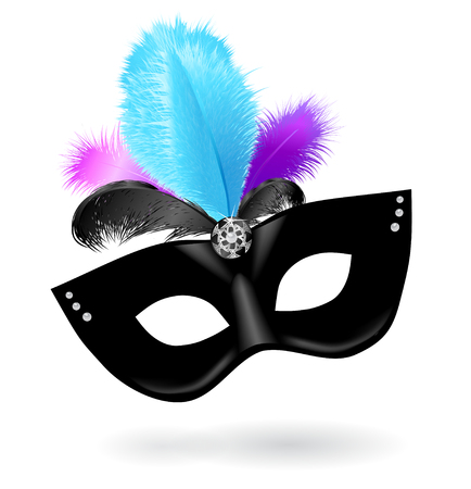 Black carnival mask with blue pink violet feathers on white background.