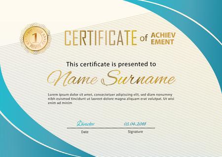 Certificat officiel avec éléments de design turquoise doré. Design moderne beige d'affaires. Emblème d'or