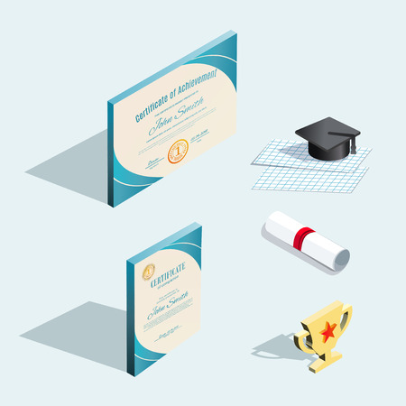Isometric icons. Official certificates with blue design elements and graduation cap with shadow. Horizontal and vertical blanks