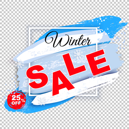 Winter Sale banner. White square frame on transparent background. Blue white blots with shadow and snow powder, abstract snowstorm background