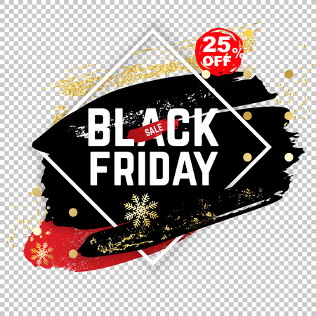 Black friday banner. White square frame on transparent background. Blue black blots with shadow and snow gold powder, abstract background