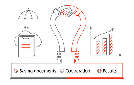 Logistics thin line icons. Business concept with lamp and handhsake. Saving documenis in cloud services and results