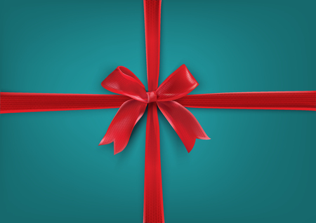 Red realistic bow on the turquoise background. Gift background