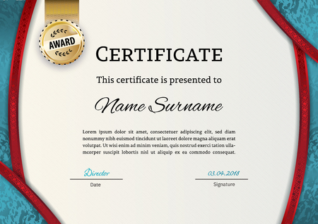 Official certificate with gold turquoise design elements. Business beige modern design. Gold emblem. Çizim