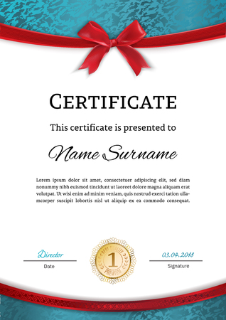 Official certificate with turquoise design elements and red bow. Business white modern design. Çizim