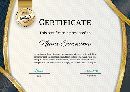 Official certificate with gold arc elements. Business luxury modern design. Gold emblem