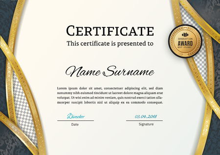 Official certificate with gold arc elements. Business luxury modern design.