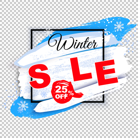 Winter Sale banner. White square frame on transparent background. Blue white blots with shadow and snow powder Stok Fotoğraf