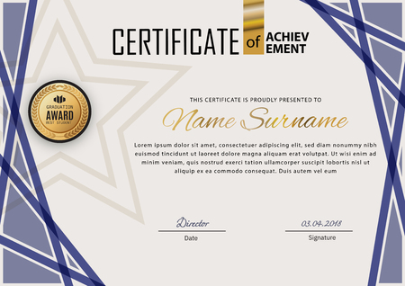 Official certificate with blue design elements. Business modern design. Gold emblem Stok Fotoğraf - 123183426