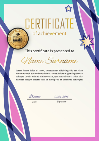 Official certificate with blue pink design elements. Business modern design. Gold emblem
