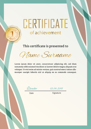 Official certificate with green beige design elements. Business modern design. Gold emblem