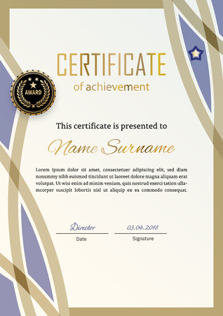 Official certificate with blue beige design elements. Business modern design. Gold emblem