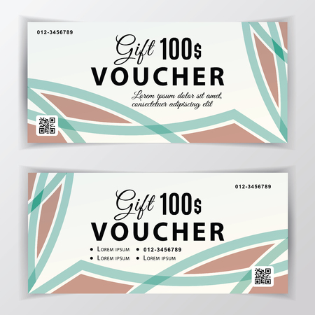 Vector gift voucher template. Universal flyer for business. beige green vector design for department stores, business. 100 dollars