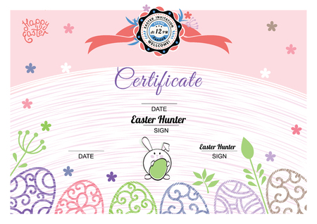 Easter white pink certificate with bunny, multicolored ornamental eggs. Pastel colors
